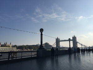 Tower Bridge spanning the Thames this morning
